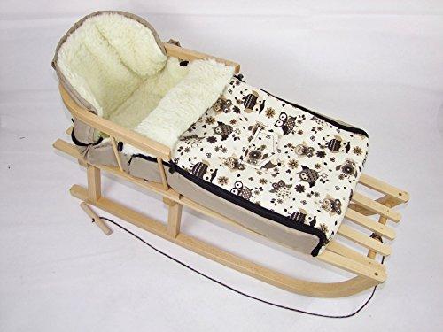 Babys-Dreams *KOMBIPAKET* HOLZSCHLITTEN mit Rückenlehne incl. Zugleine + WINTERFUSSSACK 90cm EULEN §13 aus Lammwolle für Kinderwagen - WOLLE - Lehne -Kinderschlitten - Schlitten aus Holz Kinderschlitten NEU