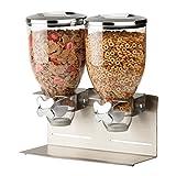 Zevro KCH-06146 Indispensable Designer Dry Food Dispenser, Dual Control, Stainless Steel, Silver