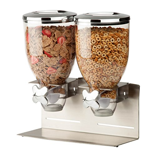 Zevro KCH-06146 Indispensable Designer Dry Food Dispenser, Dual Control, Stainless Steel, Silver (Cereal Dispenser Double compare prices)