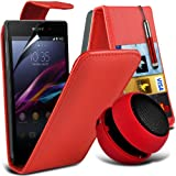 ONX3 4-IN-1 BUMPER GIFT SET - Sony Xperia Z1 Compact Leather Flip Case + 3.5MM Portable Mini Capsule Speaker + Retractable Touchscreen Stylus Pen + LCD Screen Protector Guard - Various Colours (Red)