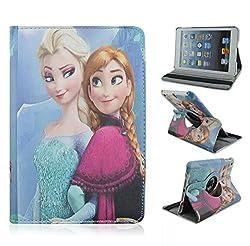 Retro Cartoon Apple iPad Mini Case, iPad mini 1/2/3 Case -- Folio 360 Rotating PU Leather Stand Case with Auto Sleep/Wake Function for Apple iPad Mini, iPad Mini 1 & 2 & 3 (M Anna&Elsa)