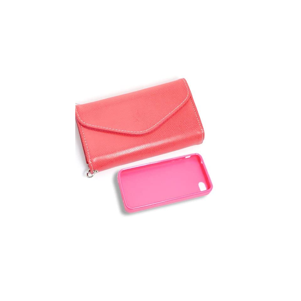 [Aftermarket Product] Dark Pink Wallet Card Faux Leather Flip Case+Pink Plastic Back Protecion Case For Apple iPhone 4S New