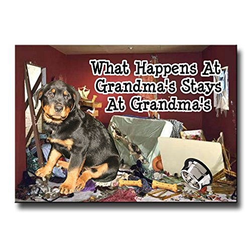 Rottweiler What Happens At Grandmas Fridge Magnet Funny (Rottweiler Refrigerator Magnets compare prices)
