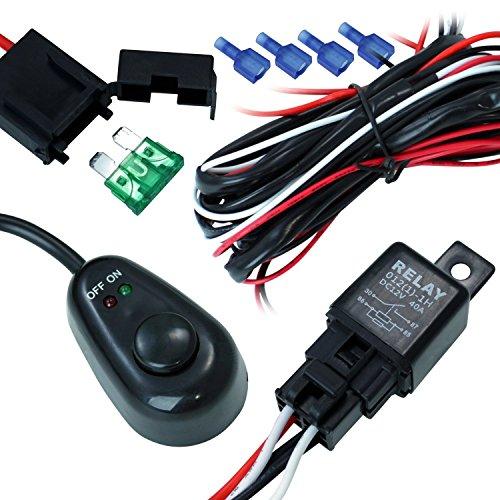 Mictuning 40 Amp Universal Wiring Harness For Off Road Led Light Bars_Relay On/Off Switch_ And Led Work Light Lamps Atv, Utv, Truck, Suv, Polaris Razor Rzr, Rigid, Yamaha, Ranger