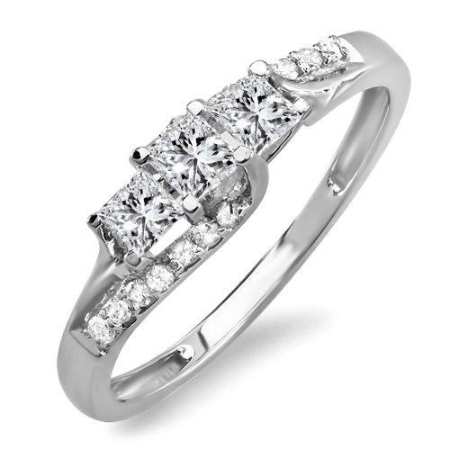 Sale 0.48 Carat (ctw) 14k White Gold Princess & Round Diamond Ladies Bridal 3 Stone Swirl Wave Engagement Ring 1/2 CT (Size 7)