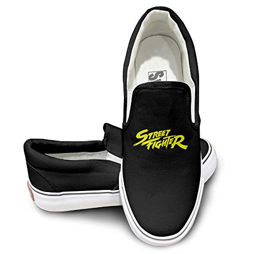 MGTER66 Street Fighter SF Logo Classic Canvas Shoes Slip On Unisex Style Color Black Size 38