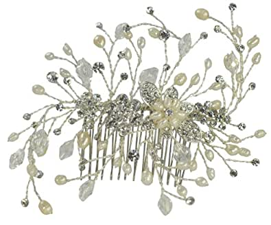 Tiffany Pearl and Crystal Hair Comb