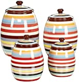 Tabletop Lifestyles Canisters, Sedona Stripe, Set of 4