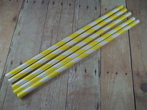 25-50-75-paper-straws-birthday-wedding-baby-shower-party-stripped-yellow