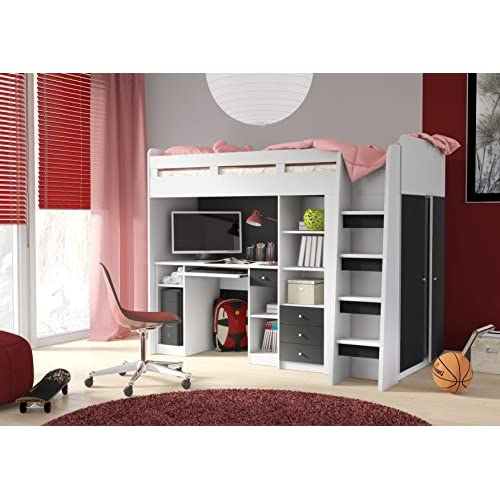 Combi White & Black Bunk Bed With Book Shelf, Computer Desk and Side Wardrobe (27RU1T03)
