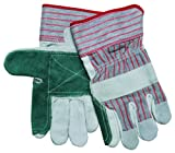 MCR Safety 1211XL Economy Shoulder Split Cow Double Leather Palm Men's Gloves with 2-1/2-Inch Rubberized Safety Cuffs, Green/Gray, X-Large by Leather Factory Outlet
