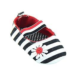 Weixinbuy Baby Girl\'s Cotton Polka Dot Walking Soft Sole Crib Shoes (L(12-18 Months), black(stripe))