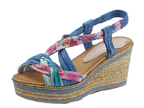 Sandali Mercante di Fiori per donna in pelle multicolore zeppa media (Taglia 40)