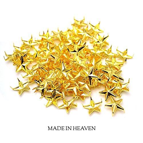 [15mm] STAR STUDS スタースタッズパーツ ゴールド 星型 5本爪 業務用 高品質 鋲 スニーカー ベルト バッグ等のカスタム リメイクに (1000)