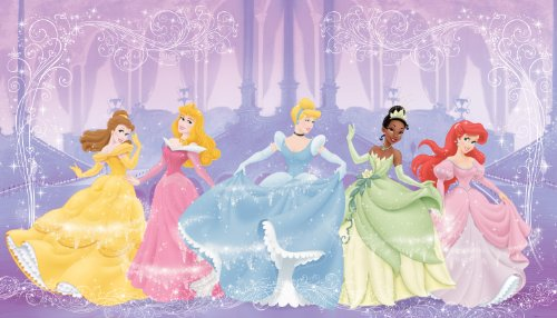 RoomMates JL1226M Disney Perfect Princess 6-Foot-by-10.5-Foot Prepasted Wall Mural