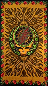 Grateful Dead® 3D Steal Your Face Tapestry with Roses - 60x90 Inches - Beach Sheet - Hippie Hanging Wall Art - Amazing 3-D Effects