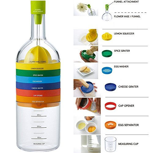 Locisne 8 in 1 Kitchen Tool, Multipurpose Function Plastic Bin Bottle Essential Kitchen Cooking Tools Kitchen Gadget (funnel, lemon squeezer, spice grater, egg masher, cheese grater, egg seperator,measuring cup, can opener)