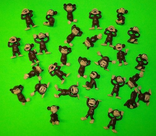 Monkey Figures 25 Tiny Plastic Monkey Figures Party Favors - 1