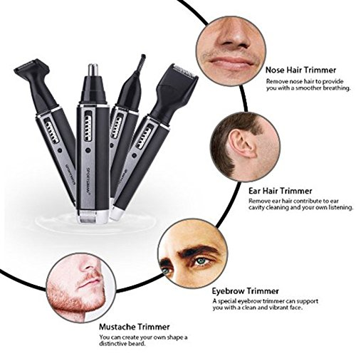 Toyofmine Professional 4 in 1 Rechargeble Water Resistant Trimmer for Ear Nose Hair Beard Sideburn and Eyebrow (Black) (Professional Detail Trimmer compare prices)