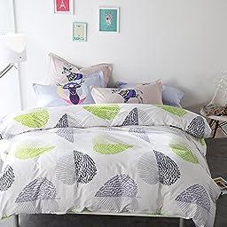 TheFit Paisley Textile Bedding for Adult U1148 Green Leaf Nature Duvet Cover Set 100% Cotton 500 Thread Count, Queen Set, 4 Pieces