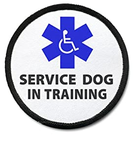 TRAINING SERVICE DOG Black Rim Medical Symbol 3 inch Sew-on Patch