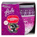 PACK OF 2 GLADE FRAGRANCED CANDLES IN DECORATED GLASS. COSY BLACKBERRY FROST FRAGRANCE. LIMITED EDITION CHRISTMAS/HOLIDAY/WINTER SEASON.
