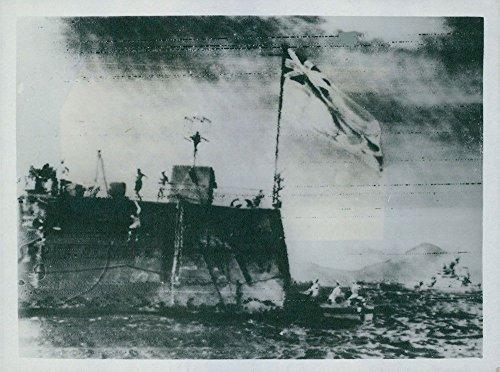 Vintage Photo de Stern de Le Duc De York, Flying le Ensign Blanc-Préparation pour la soirée style Surrender.