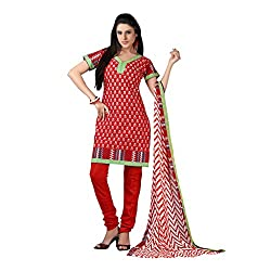 Anjali Presents Exquisite Red Coloured Printed Dress Material