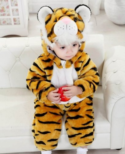 Meilaier Halloween Costume Baby Winter Newborn Romper Animal Tiger Toddler baby Onesie Outfits Suit