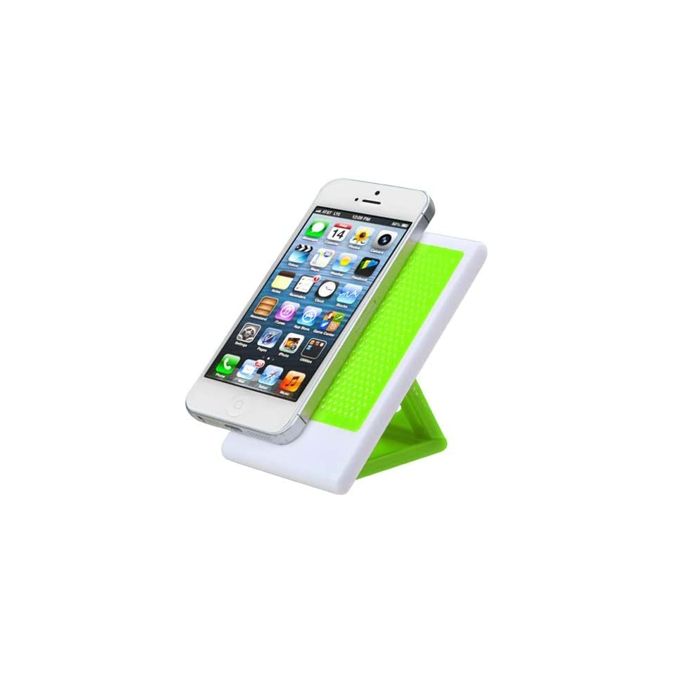 "Light Green Foldable Mobile Cell Phone Anti Skid Desk Holder Stand for Apple Iphone 4/4s Apple Iphone 5/5s/5c Blackberry Z10 Blu Studio 5.0 S D570a 5"" BLU Studio 5.3 Ii 5.3"" BLU Studio 5.0 D530 5"" BLU Quattro 5.7 Hd D460 6"" BLU Life Pla"