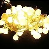 RioRand® 防水ボールライト LEDイルミネーションライト パーティ、クリスマス/聖誕祭の飾り物 装飾品(ウォームホワイト,10メートル 100球)
