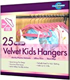 Closet Complete Kids Size Ultra Thin No Slip Velvet Hangers, Pink, Set of 25
