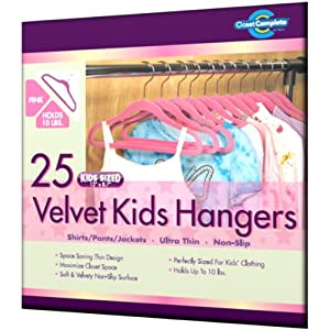 Closet Complete Kids Size Ultra Thin No Slip Velvet Hangers, Pink, Set of 25