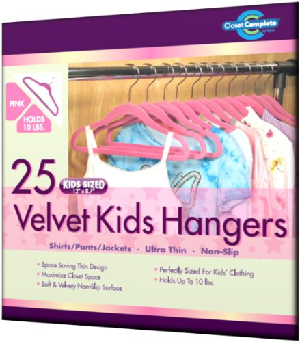 Closet Complete Kid Size Ultra Thin No Slip Velvet Hangers, Pink, Set of 25