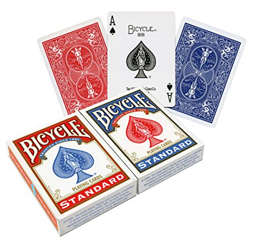 Great Deal! Bicycle Poker Size Standard Index Playing Cards (2 PACK- Red and Blue)