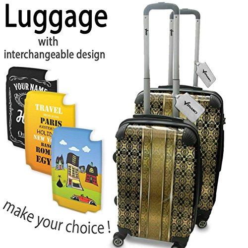 Opal 10003, Retro, Set da 2 Luggage Valigia Bagaglio Ultraleggero Trasportabile Rigido 4 Route Adatto con Disegno Colorato. Dimensione: Formato Cabina S, M