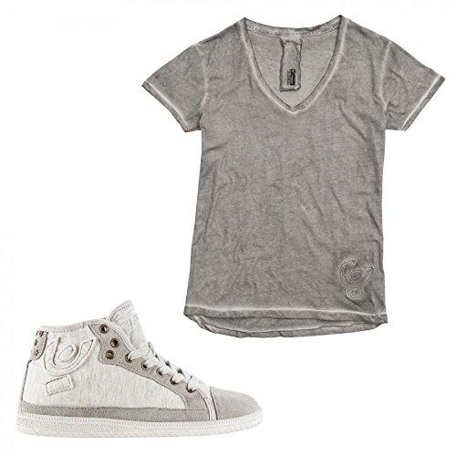Freddy Sneaker con Rialzo interno di 3cm + T-Shirt in Omaggio (LST45SHIT) (35, Grigio)
