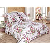 "2-piece Reversible Bedspread Coverlet Quilt Set twin Size 68""x 86"", pink and purple flower"