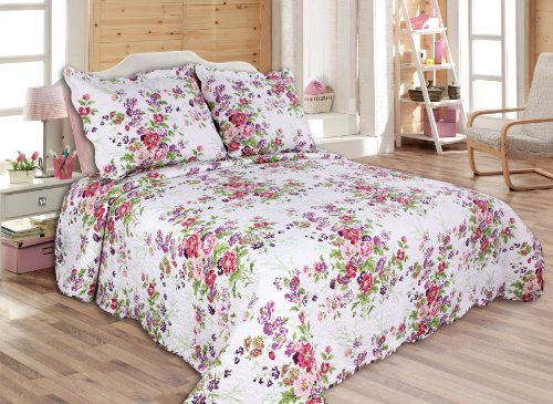"3-piece Reversible coverlet, Quilt Set, bedpread, Full-Queen Size,86""x 86"", pink and purple..."