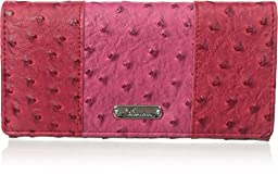 Buxton Ostrich Pop Panel Expandable Clutch, Red, One Size