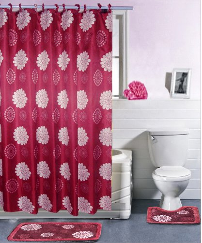 Casa Elite 15-Peice Bathroom Shower Set, Burgundy Blossom