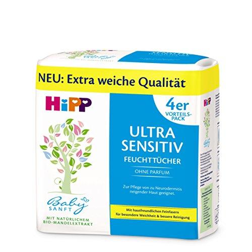 HiPP Babysanft Feuchttücher Ultra Sensitiv 4 x 52 Stück, 1er Pack (1 x 962 g)