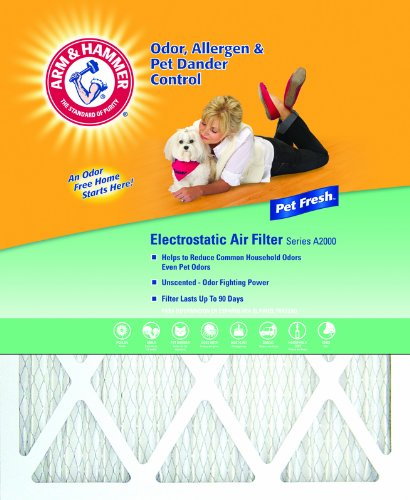 Arm & Hammer AFAH2025 Odor Allergen Pet Dander Control Electrostatic Air Furnace Filter, Pet Fresh A200, 4 Pack, 20-Inch by 25-Inch