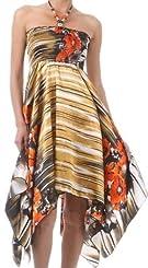 Striped Garden Print Satin Feel Beaded Halter Smocked Bodice Handkerchief Hem Dress