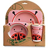 Bamboo Fibre Eco-Friendly Biodegradable Lady Bird Character Printed Dinnerware Set Of 5 Pieces For Kids