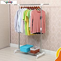 1 Piece HOMIES Brand (Registered), Multi-function utility Laundry clothes drying rack, hanger storage, storage cart with wheels, Trolley for easy mobility, Portable Stainless Steel Single Clothes Rack Hanger Cloth Garment Dryer(Multicolor)