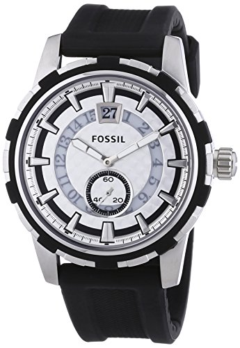 Fossil Dean - Reloj de cuarzo para hombre, correa de silicona color negro