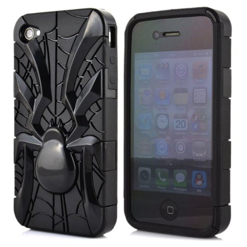 Meaci® Iphone 4 4S Case 3In1 Spider Model Combo Hybrid Defender High Impact Body Armorbox Hard Case (Black Spider)