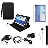 COD(TM) Black Stand Leather Case with Charger and Screen Protector For Samsung Galaxy Tab 3 10.1 P5200 (6-item)
