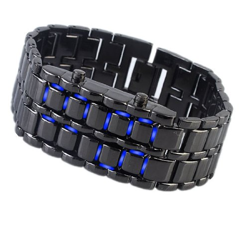 Jovivi Led Light Lava Mens Black Wrist Bangle Watch Digital Sport Notional (Blue)